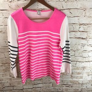 J. Crew Striped Color Block Long Sleeve Top